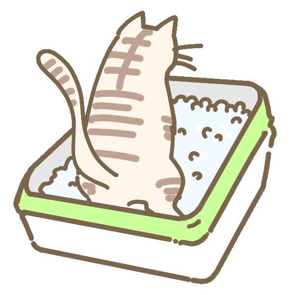猫とトイレのイラスト