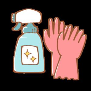 洗剤と手袋のイラスト